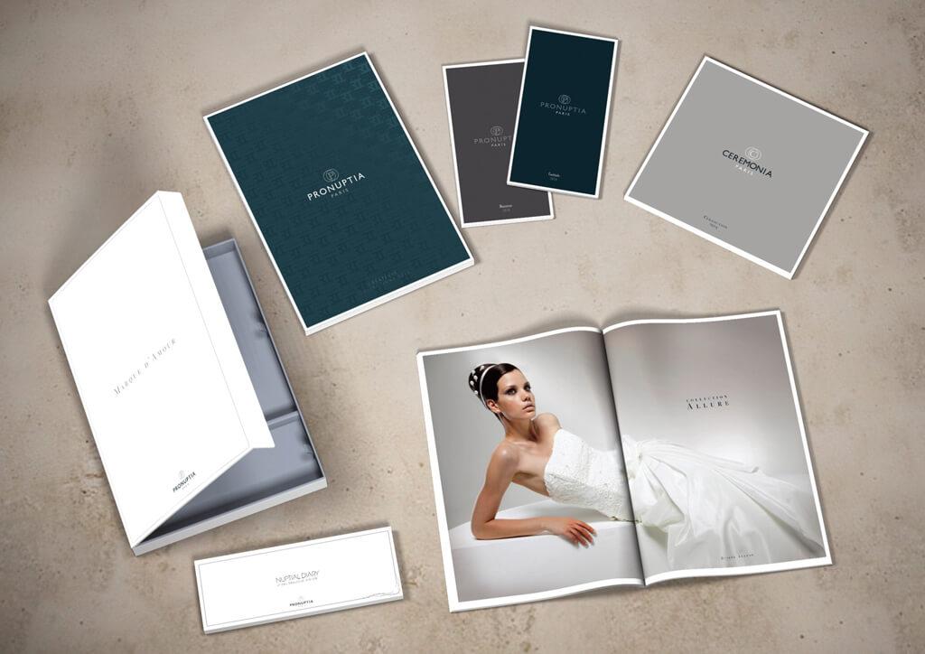 <p>Pronuptia : Redéfinition de la création visuelle, création du catalogue collection et aide à la vente.</p>