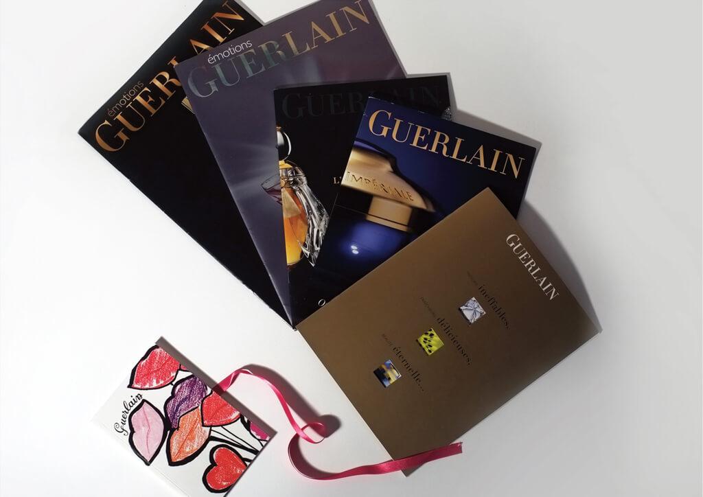 <p>Parfums Guerlain : Réalisation d'objets d'édition, dossiers de presse, brand book.</p>