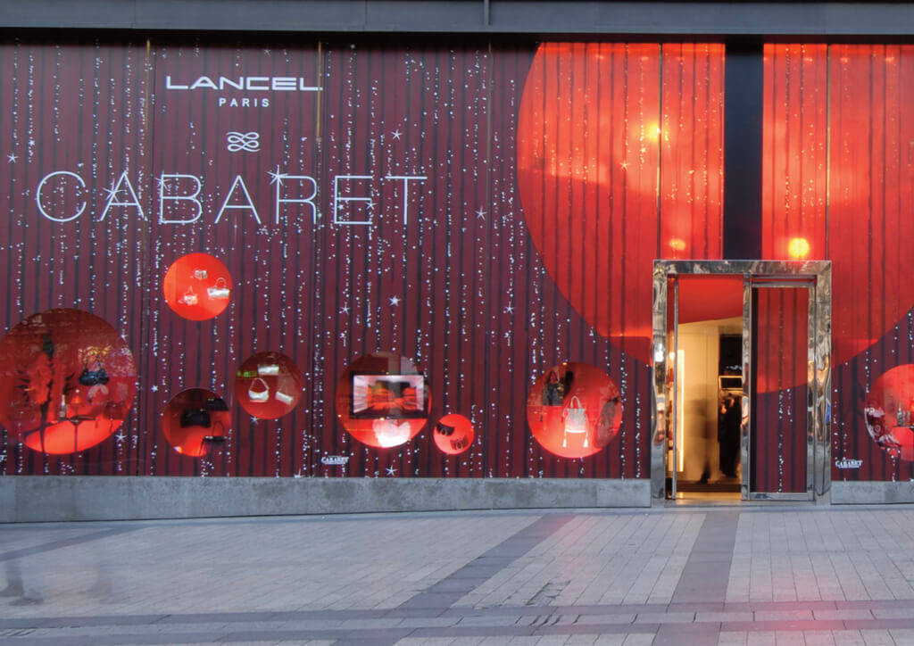 <p>Lancel : Développement du plan d'action de communication retail worldwilde - Vitrines Cabaret.</p>